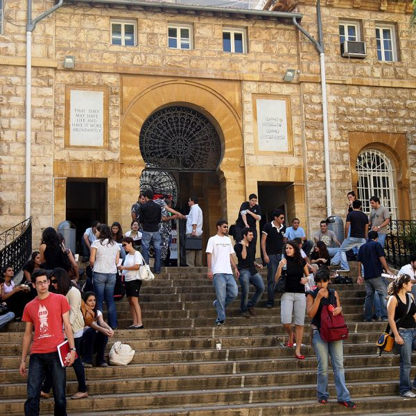 Lebanese students of the American University in Beirut (AUB) gather on the steps of their university campus, 25 October 2007. Many students wish Lebanon's politicians would stop feuding over the future president, sparing them the nightmare scenario of fellow countrymen taking up arms against each other. A parliament meeting this week was postponed again so that the MPs have more time to agree on consensus candidate for the president, who is traditionally a Maronite Christian. AFP PHOTO/JOSEPH BARRAK / AFP PHOTO / JOSEPH BARRAK