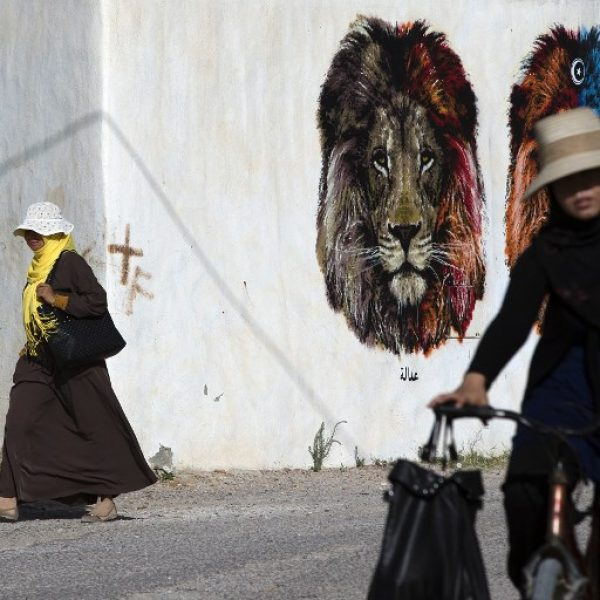 Women walk past a mural by Italian artist Orticanoodles in the village of Erriadh, on the Tunisian island of Djerba, on August 8, 2014, as part of the artistic project
